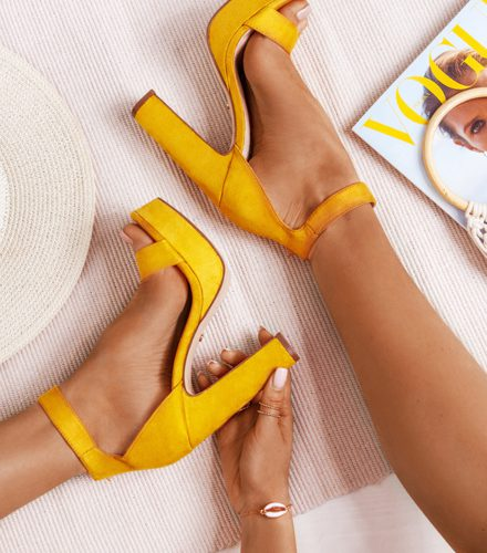 Żółte sandałki na platformie Terre